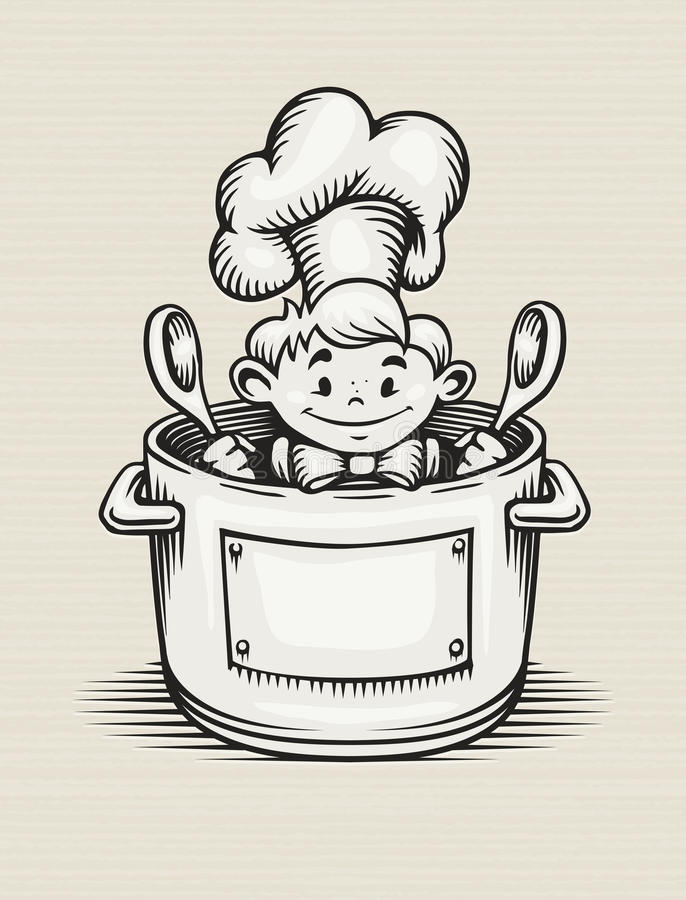 Smiling Boy Cooking In The Kitchen Royalty Free Stock Images