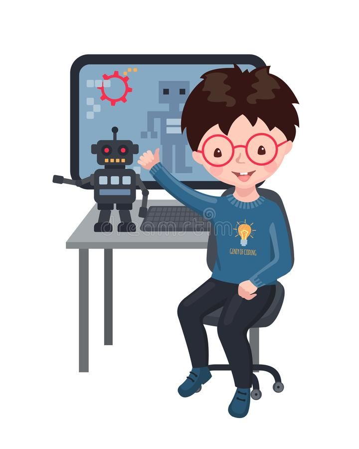Smiling boy creating smart robot and programming it. Cute little boy creating smart robot, robotics and programming it. Coding for kids.Vector Illustration vector illustration