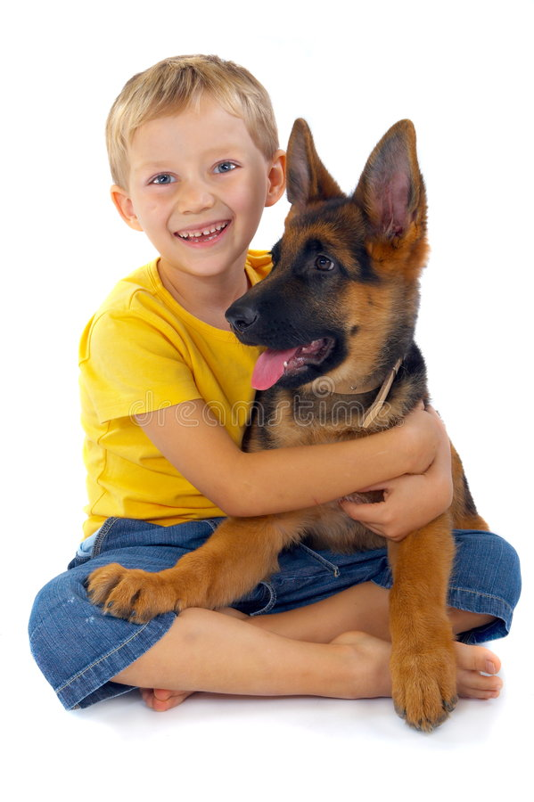 Smiling Boy With Dog royalty free stock photos