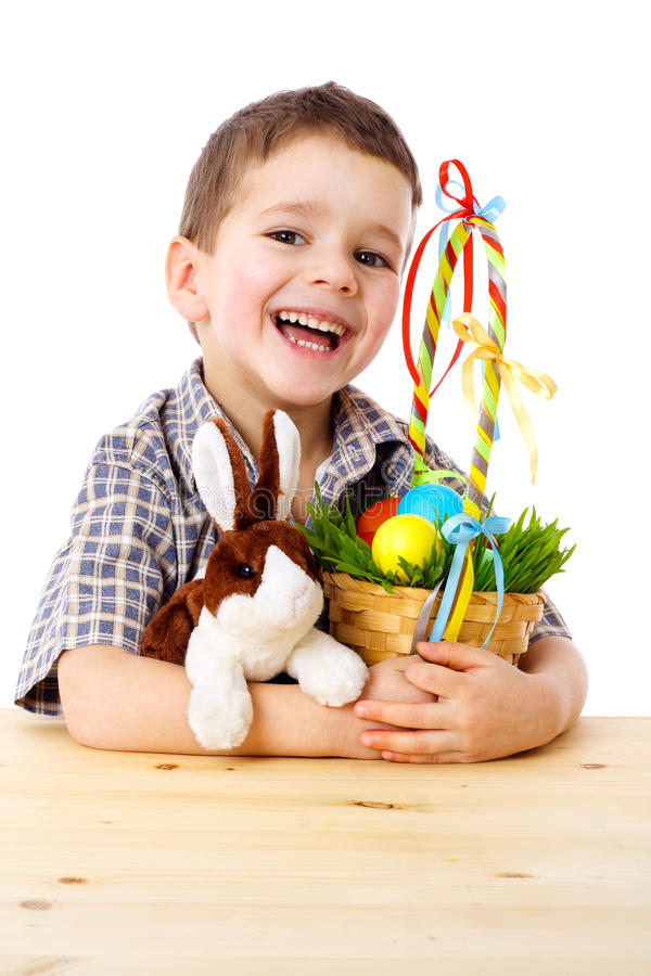 Download Smiling Boy With Easter Eggs And Bunny Stock Image - Image: 23401881
