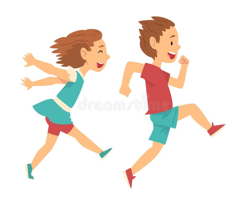 Smiling Boy and Girl Running Together, Happy Kids Have Fun Dessin Vector Illustration illustration libre de droits