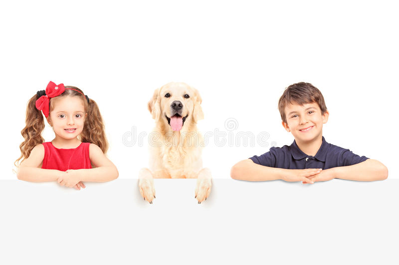 Smiling boy and girl standing behind a blank panel with a Labrador retriever dog. Isolated on white background stock images