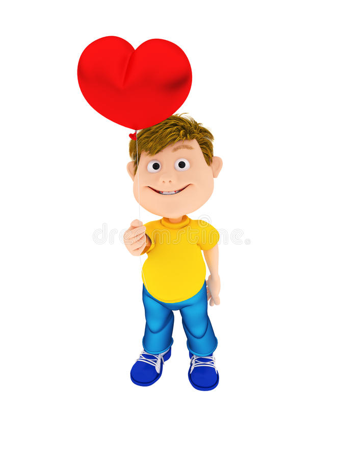 Smiling boy holding a red heart ballon royalty free stock image