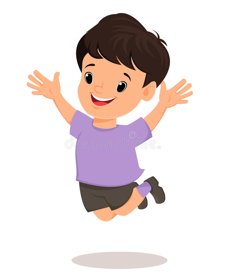 Smiling boy makes a jump. Pretty cartoon character. stock illustration