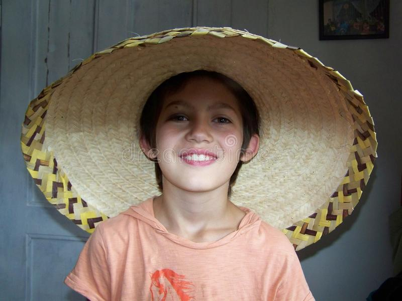 Smiling boy in mexican hat stock photos