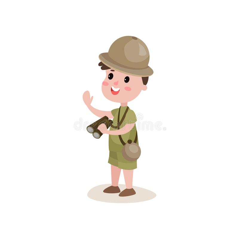 Smiling cartoon boy scout character standing with binoculars in hand. Smiling boy scout character standing with binoculars in hand isolated on white. Kid dressed vector illustration