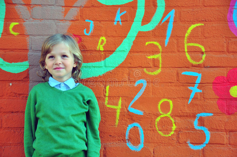Download Smiling boy stock photo. Image of painting, little, learning - 36022162
