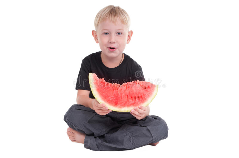 Download Smiling Boy With Watermelon Stock Photo - Image: 16842586