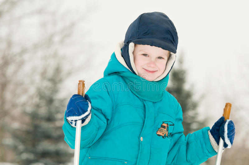 Smiling Boy At Winter Forest Stock Image