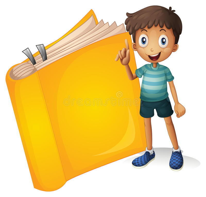 A smiling boy and a yellow book vector illustration