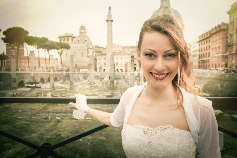 Smiling bride in the ancient city. Rome Italy. royalty free stock photography
