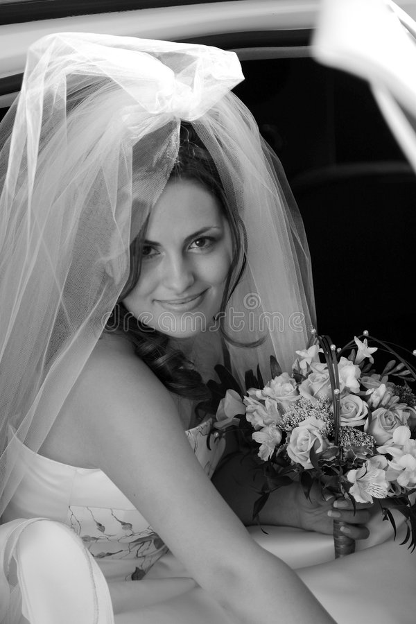 Smiling Bride Getting Out Car Stock Photos