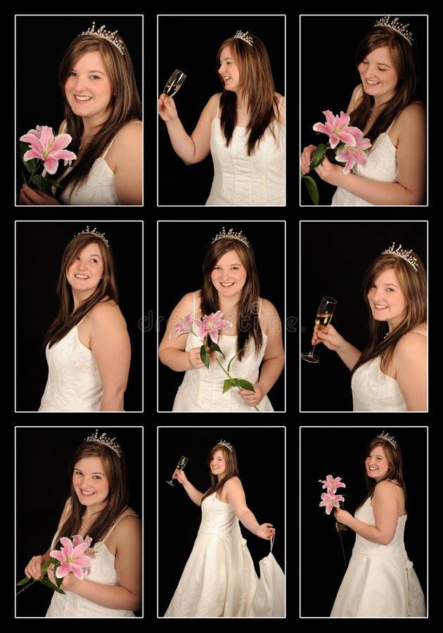 Smiling bride montage stock photos