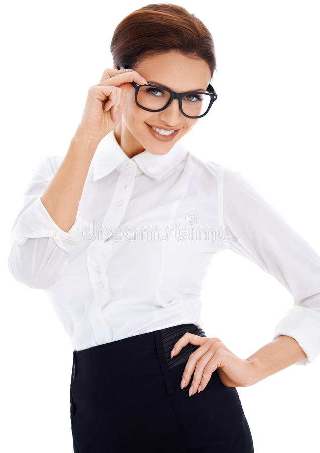 Smiling brown-haired woman, posing royalty free stock photo