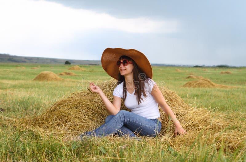 Smiling Brunette Girl In Hat Stock Images