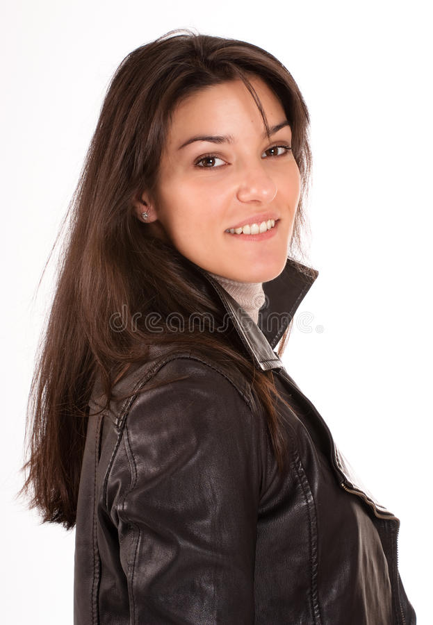 Download Smiling Brunette In A Leather Jacket Stock Image - Image of pretty, girl: 27638545