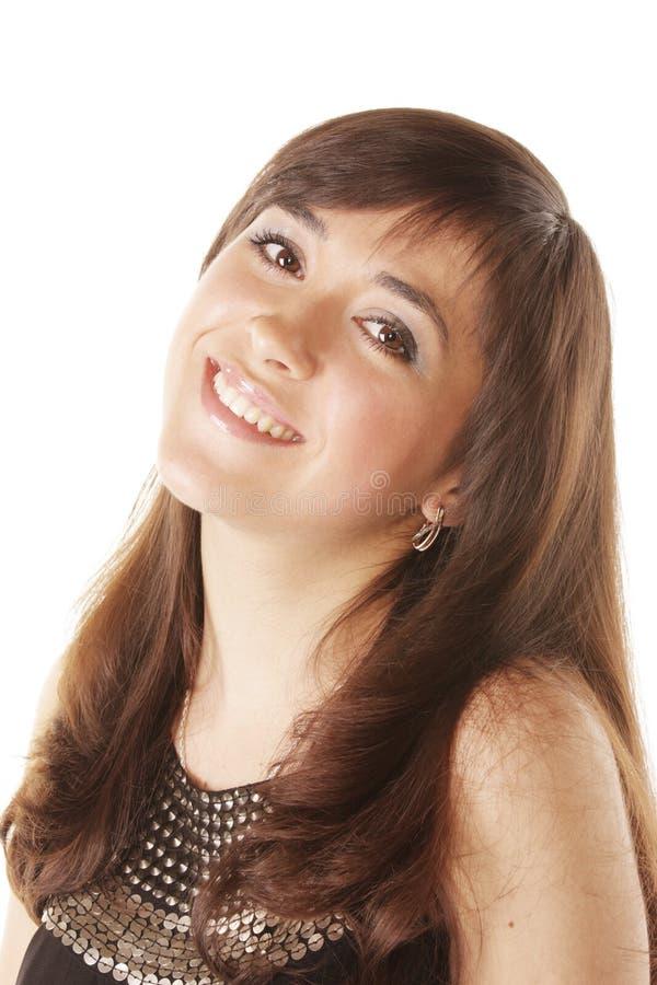 Smiling Brunette Turning Head Royalty Free Stock Image