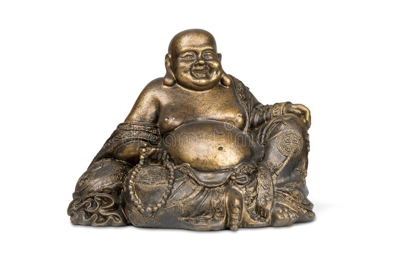 Smiling Buddha brass figurine. On white background with clipping path royalty free stock images
