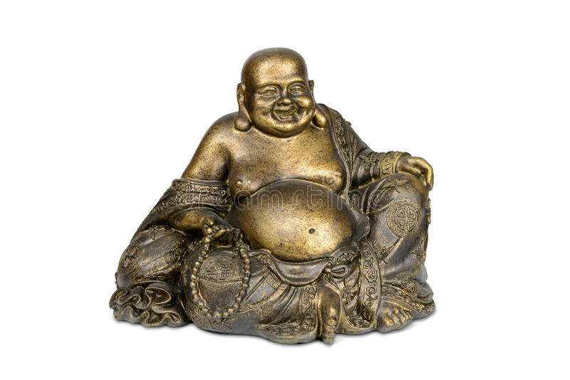 Smiling Buddha brass figurine. On white background with clipping path stock photo