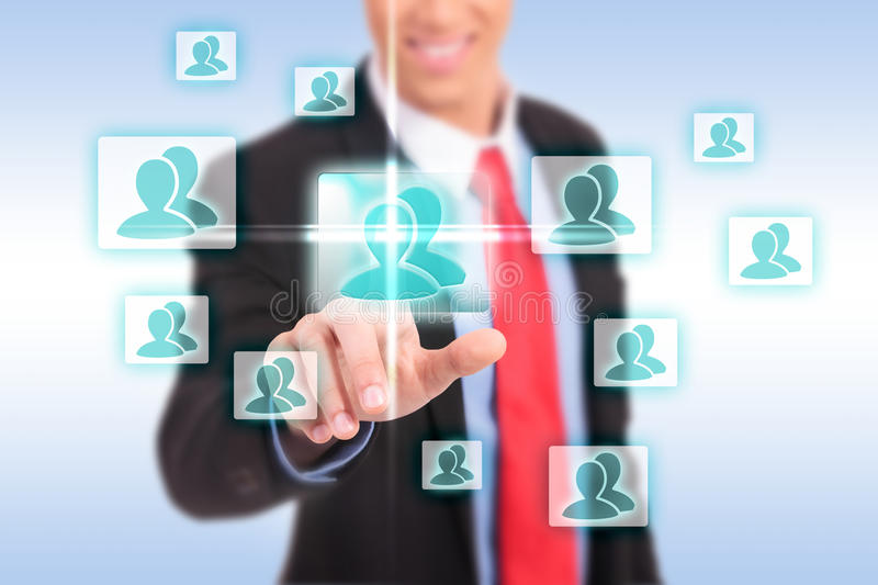 Download Smiling Business Man Pressing The Add Friend Button Stock Image - Image of concept, male: 28551071