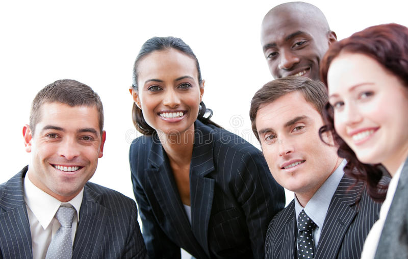 Smiling business people in a meeting royalty free stock photos