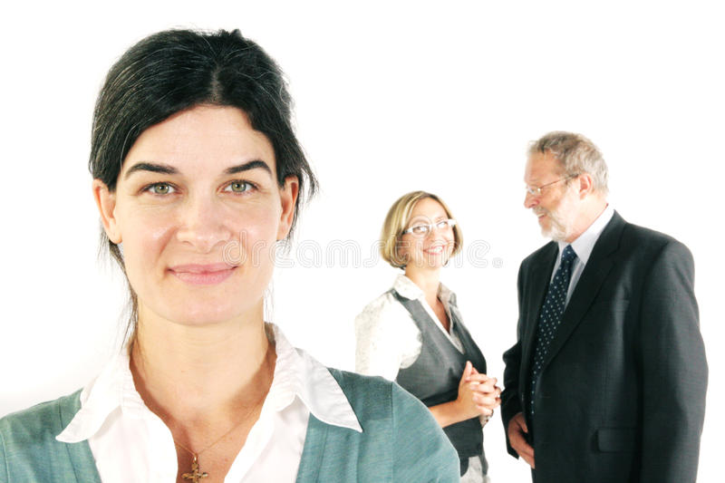 Smiling business team stock images