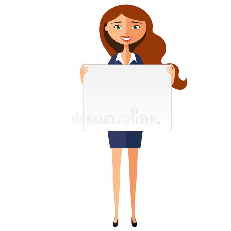Smiling business woman with banner. Friendly young woman standing with board flat cartoon vector illustration. stock illustration