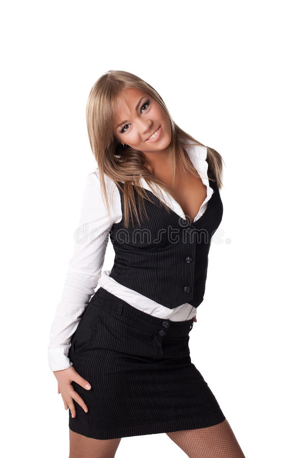 Download Smiling Business Woman In Black Skirt Stock Photo - Image: 25193376