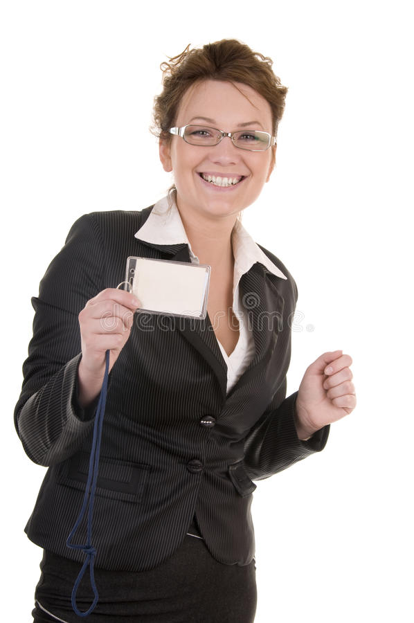 Smiling business woman with card stock image
