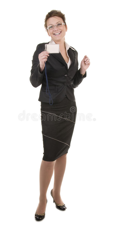 Smiling business woman with card royalty free stock photos