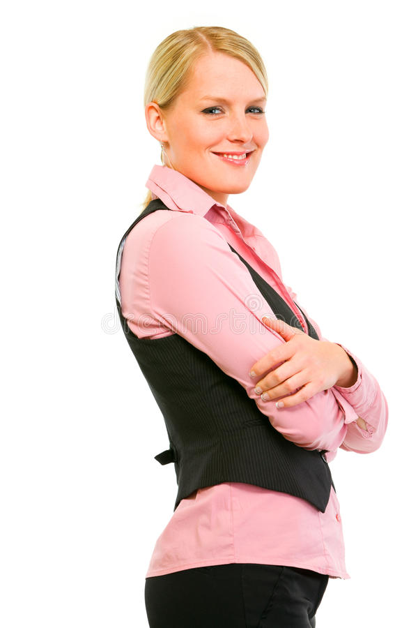 Download Smiling Business Woman With Crossed Arms On Stock Image - Image: 21348759