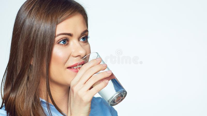 Smiling business woman drink water. stock photo