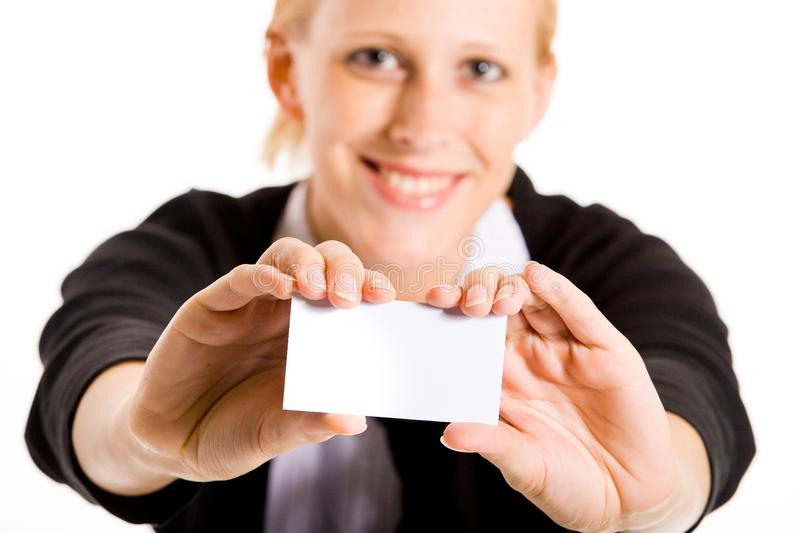 Smiling business woman with her card stock image