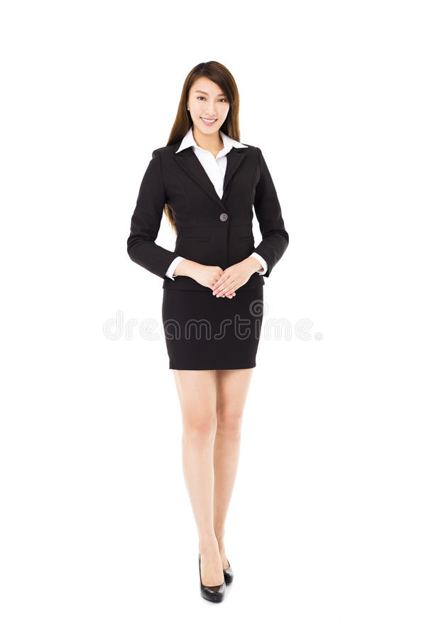 Smiling business woman isolated on white stock image