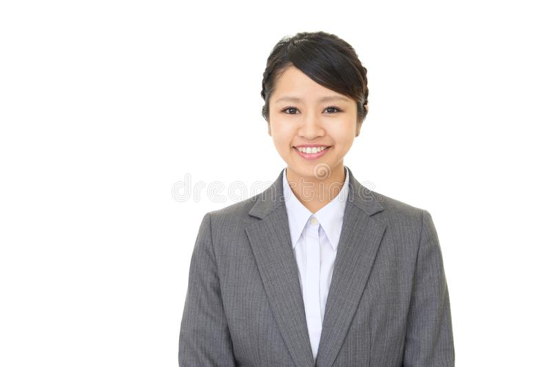 Smiling business woman. Portrait of a young business woman stock photography