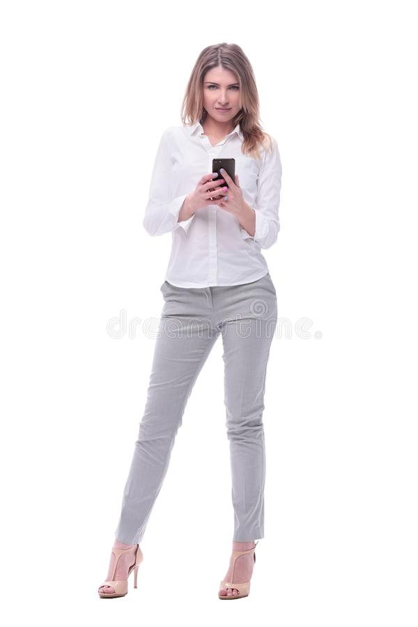Smiling business woman reading e-mail on her smartphone. isolated on white stock photos