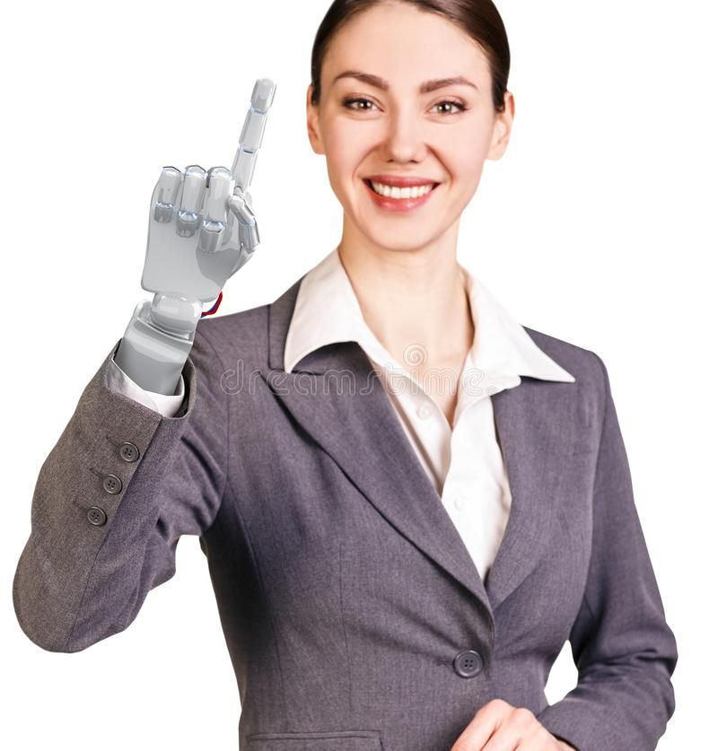 Smiling business woman with robot hand. 3d rendering. Smiling business woman with robot hand. Hand prosthesis concept. 3d rendering stock images