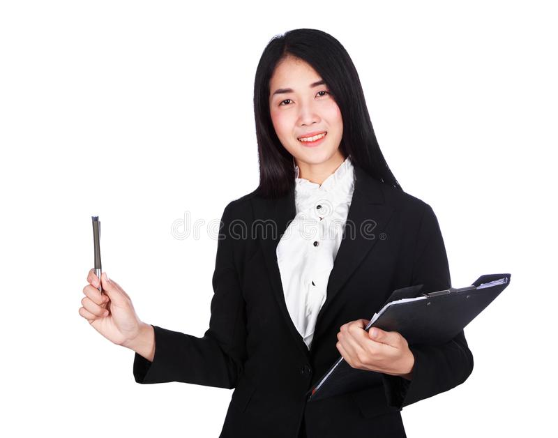 smiling business woman in suit holding a clipboard and pen isolated on white background royalty free stock images