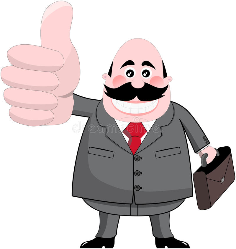 Smiling Businessman with Big Thumb Up vector illustration