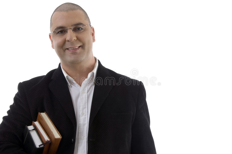 Smiling businessman with books