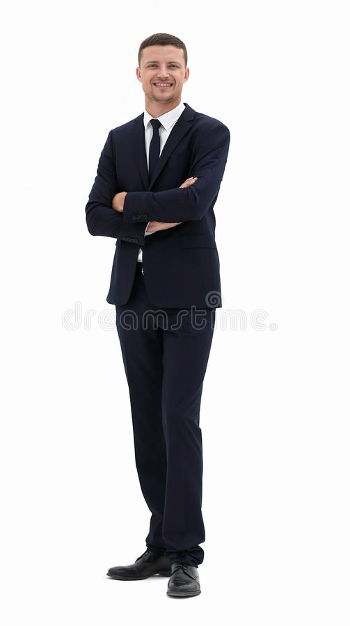 Smiling businessman in a business suit royalty free stock image