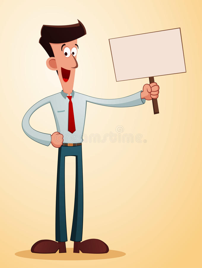 Download Smiling Businessman Carrying A Talkingboard Stock Vector - Illustration of friendly, advertisement: 39505057