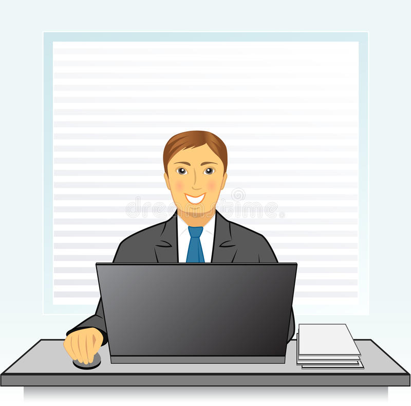Smiling businessman with laptop in office stock illustration