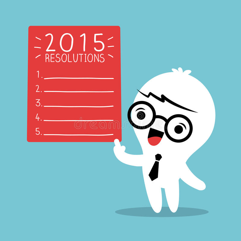 Smiling businessman with 2015 new year resolutions list vector illustration