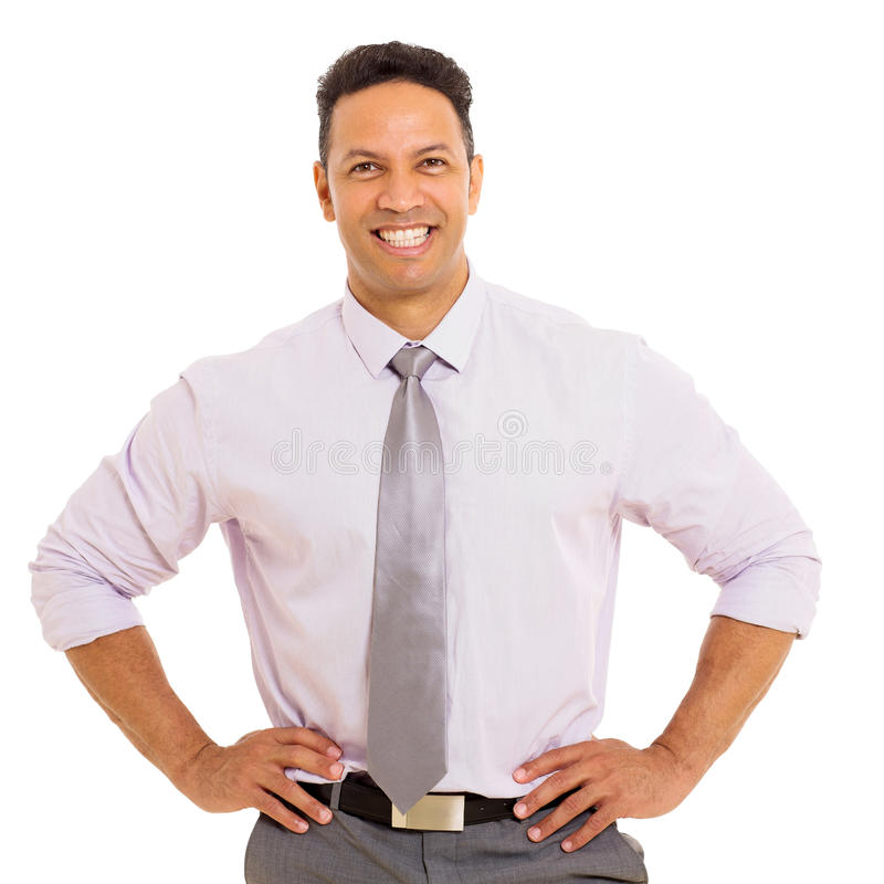 Smiling businessman. Portrait of middle aged smiling businessman on white royalty free stock images
