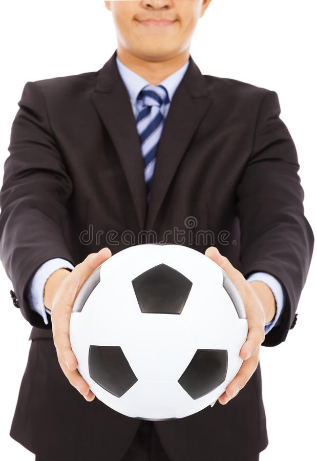 Download Smiling Businessman Show A Soccer Stock Photo - Image: 39484315