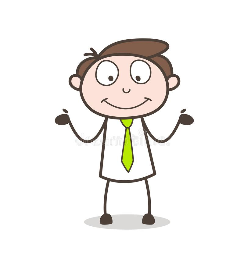 Smiling Businessman Showing Empty Hands Vector Illustration stock illustration