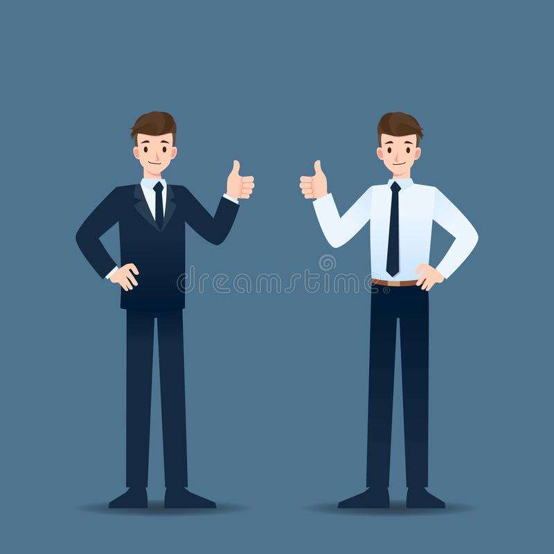 Smiling businessman standing and thumb up to cheerful for his successful career. vector illustration