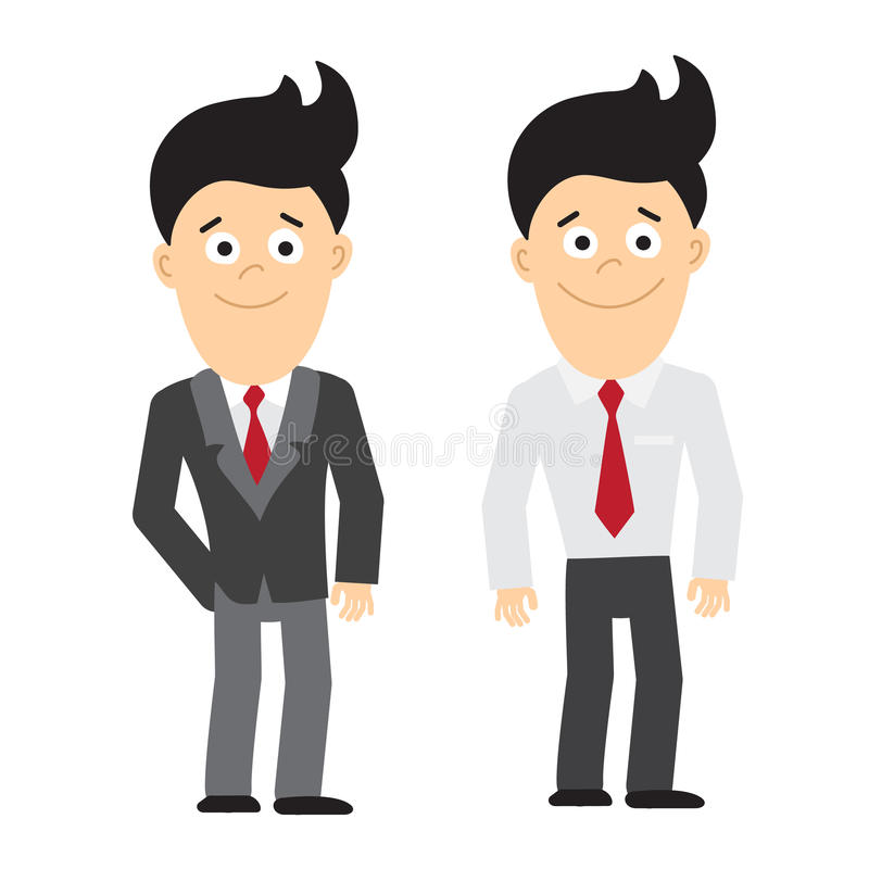 Smiling businessman standing. Smiling businessman standing on white background. Set of two businessman. Concept of manager and office worker stock illustration