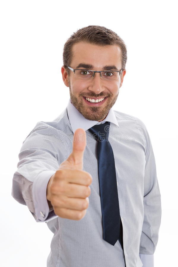 Smiling businessman and thumb up sign royalty free stock photo